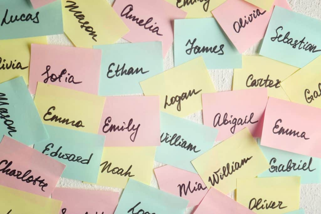 Hurricane names on post it notes